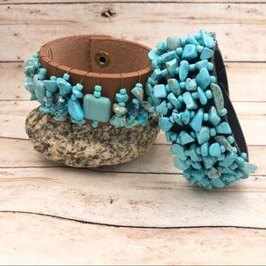 Turquoise Bead Wire Wrapped Leather Snap Bracelet